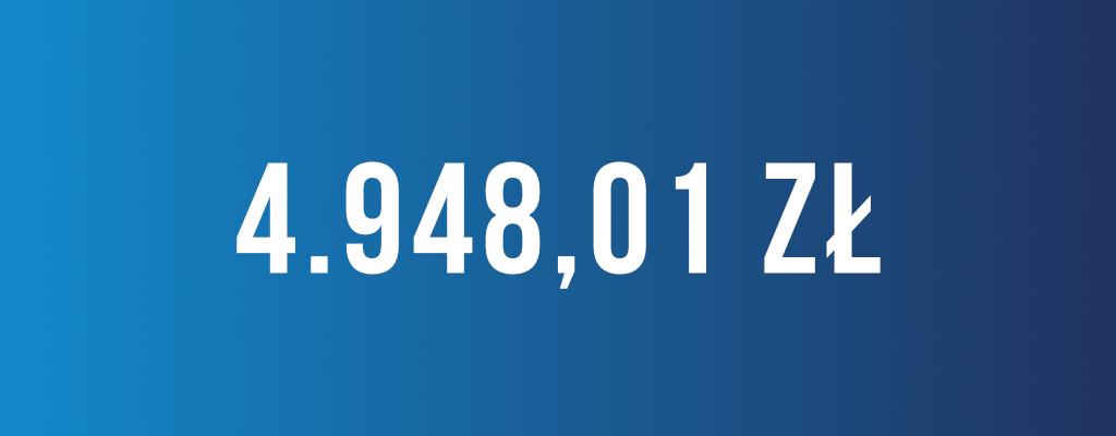 Wygrana kwota odszkodowania wyniosła 4 949 zł.