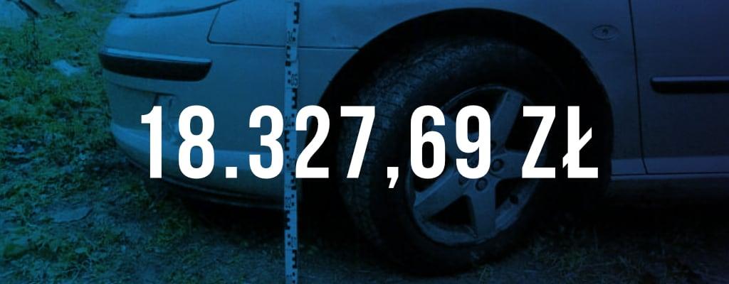 Wygrana kwota odszkodowania wyniosła 18 327 zł.
