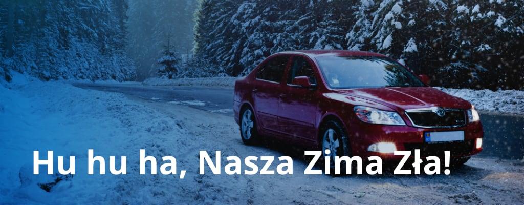 Samochód Skoda na drodze zimą