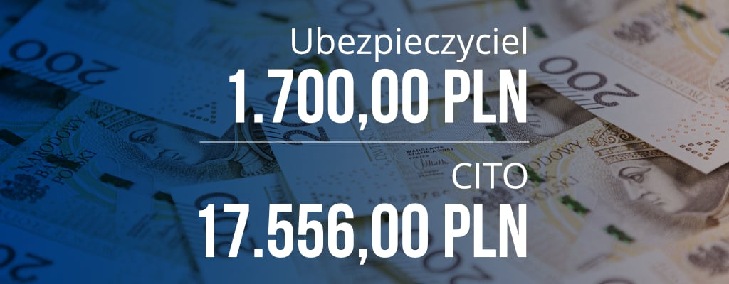 Ubezpieczyciel 1700 PLN, Cito 17556 PLN